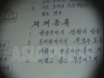 朝鮮では強制労働が処罰の形態として広く採用されている。写真は、保安署(警察)の中の壁に掲げられていた「軍部動員違反者の制裁の種類」の掲示板。その中に「6か月までの無報酬労働」の項目がある(2番目)。(2005年6月咸鏡北道 リ・ジュン撮影)