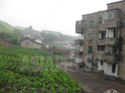 平安南道安州(アンジュ)市の南興化学工場の労働者のアパート。4階部分のベランダが改造されているのが分かる。私財で買った国家住宅を勝手に拡張、増築する行為が蔓延しているという。(2008年6月 ペク・ヒャン撮影)