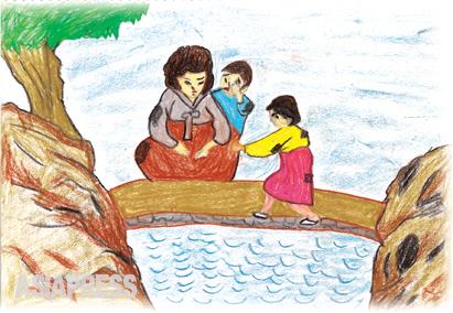 みんな一緒に死のう! 「この母は、お前たちの小さなお腹も満たしてやれない身の上になってしまった。そんな私が生きていて何ができようか。今日この川に飛び込んで死んでしまおう」 「母さん、二度とご飯ちょうだいなんて言わないから、死ぬのはよそうよ」 ―キルス