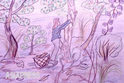 木の皮をはぐぼくのお母さん何も食べるものがなくなり、お母さんは山に木の皮をはぎに行きました ―ハンギル(キルスの兄)