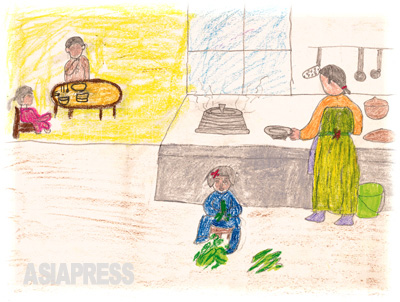 食事を抜いた家族 もう何食抜いたのかもわからないわが家族。台所の床に座って野原で採ってきた野草をえり分ける妹の姿です。 ―デハン(キルスの伯父)