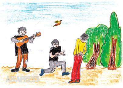 道端で歌を売る 北朝鮮で学校に通っていたときは、アコーディオンを弾き、歌も上手でした。 あまりに食べていくのが苦しくて、歌や笑顔も売ったりしました。 ―キルス