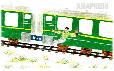 列車脱出 北朝鮮に残してきた家族を救い出すため、中国から豆満江を越えようとして北朝鮮の国境警備隊に見つかりました。その後汽車に乗せられて逃亡者収容所に移動中、手薄な警備のすきをつき護送列車から脱出しました。 ―デハン(キルスの叔父)