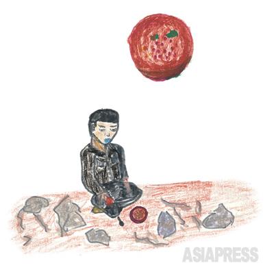 穏城(オンソン)労働教養集結所 咸鏡北道穏城労働集結所に捕まって行きました。食べるものはトウモロコシの実の皮、しぼりかす、菜っ葉そしてとぎ水…。これがぼくの一食でした。 ―デハン(キルスの叔父)
