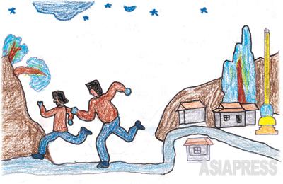 国境を越えて中国に 13歳の弟・ヒョクチョリを連れて中国に脱出して走り逃げる姿です。 ―ミング(キルスの従兄弟)