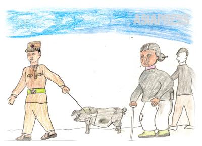 豚を賄賂にして豆満江をわたる ぼくは中国に逃げ出して、家族を救い出すために北朝鮮に舞い戻りました。そして、もう一度中国に出ようとしましたが、うまくいきません。豆満江沿いの村に住んでいたおばあさんを訪ねてすがりました。おばあさんは全財産と言ってもいい、一頭の豚を引き連れて国境警備隊を訪ね、軍人に差し出しました。軍人たちは豚を受け取りぼくの渡江に目をつぶりました。 ―キルス(絵)