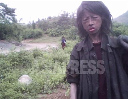 2009年11月30日に突如行われた「貨幣交換(デノミ措置、通貨ウォンを100分の1に切り下げ)」は、庶民の経済活動に大きな打撃を与えた。少なくない人々が、食糧を買うために家を売り払い、コチェビと呼ばれるホームレス生活に転落したと金東哲記者は語る。写真は昨年6月に撮影された23歳のコチェビ女性。貨幣交換で両親を亡くし、畑の雑草を飼料として売ることで生命をつないでいたが、同10月、死亡したことが明らかになった。撮影 金東哲(キム・ドンチョル)