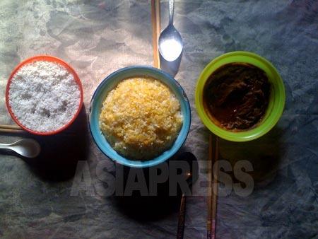 庶民の食卓に並ぶおかずは、野菜を味噌であえたもの(右)と、塩(左)ぐらいだという。2011年3月 両江道恵山(ヘサン)市 撮影 崔敬玉(チェ・ギョンオク)(アジアプレス)
