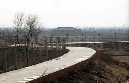 鉄条網で遮られた黄金坪。人影は見えなかった。鴨緑江は埋め立てられて地続きになっていた。2012年 3月 南正学(ナム・ジョンハク)撮影
