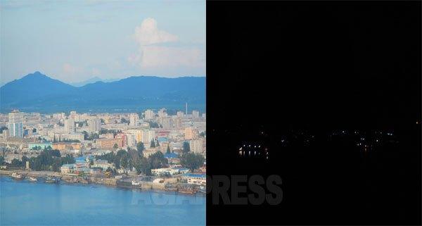 新義州の昼と夜。中国側のビルの同じ場所から撮影した。電気供給が優先される新義州も夜の灯りはまばらだ。2015年8月 石丸次郎撮影