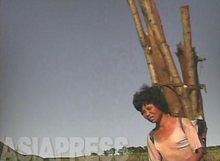 薪にする木を背負った女性。丸太は背丈以上の長さだ。薪を売れば商売にもなる。山から下りてきたところだ。2008年9月 黄海南道海州市郊外 撮影:沈義川(シム・ウィチョン)