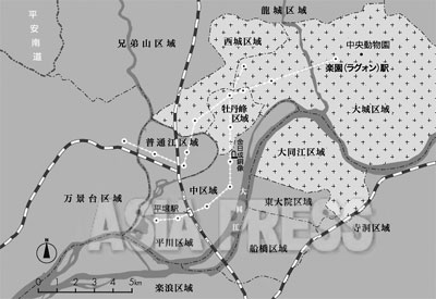 平壌市街図(地図をクリックすると拡大します)