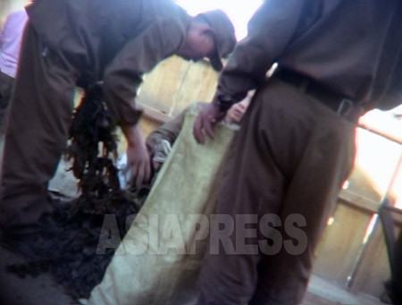 商売人に売るためのワカメを市場の隅で袋詰めする兵士たち。周囲の目を気にしていた。(2006年8月清津市 ペク・ヒャン撮影)