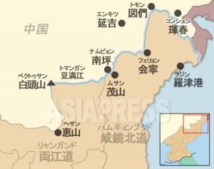 豆満江流域に位置する中国と北朝鮮の主要都市。(アジアプレス)