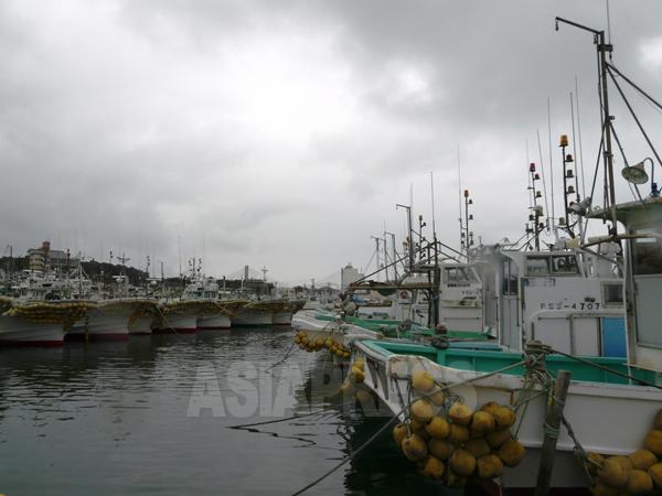 係留されたままの漁船。福島第一原発の汚染水問題の影響で試験操業が中止されている(福島県相馬市松川浦港 栗原撮影)