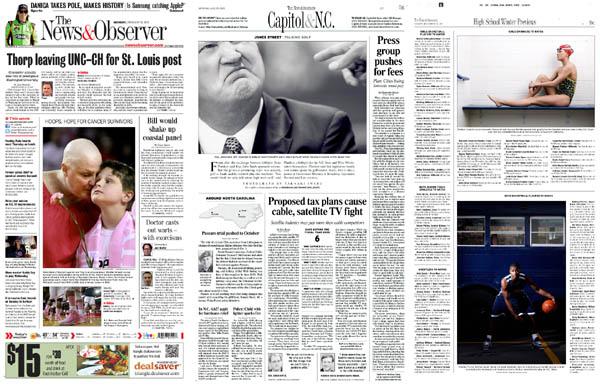 「ニュース&オブザーバー」の紙面。紙面に掲載されている写真は岩部氏の撮影