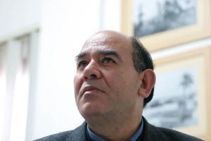 ラジ・スラーニ弁護士。ガザ在住で人権活動家としても知られる(2001年1月・ガザ市内・パレスチナ人権センターにて撮影・土井敏邦)