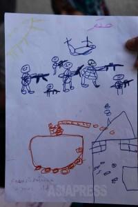 ジャバリア難民キャンプの学校に避難している子どもが描いた絵。2014年7月31日 撮影 古居みずえ