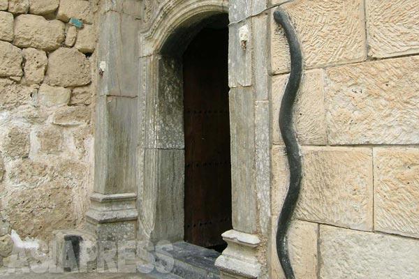 ラリシュの壁に刻まれた黒いヘビ。ノアの箱舟伝説に関係すると信じるヤズディ教徒もいる。「箱舟に穴が開き、水が入り込んだとき、そのヘビがとぐろを巻いて穴を塞いだ」とも伝えられるが、諸説が混在している。孔雀とヘビの信仰については、ヒンズー教との共通点をあげる考察もある。(シェハン・2005年)