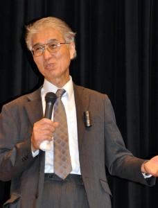 京都大学原子炉実験所の小出裕章さんは原子力の安全性に警告を発してきた。(2014年10月大阪市内にて撮影・樋口元義)