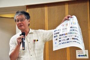 京都大学原子炉実験所の今中哲二さん。講演では放射能汚染の現状を報告した。(2014年9月大阪市内にて撮影・樋口元義)
