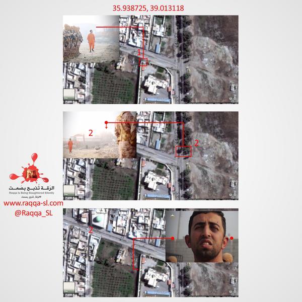 アルラッカウィ氏は、焼殺映像と実際の空爆地区などから中尉の殺害場所を推定し、衛星写真と照合し公開している。ラッカ内部で密かに活動するからこそ知りえる情報は多い。ISに見つかれば処刑される可能性がある。常に命の危険が伴う。(写真はアルラッカウィ氏のツイッターより)
