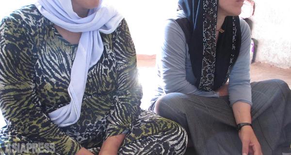 昨年8月、イラク北部シンジャルがISに制圧され、3000を超えるヤズディ教徒の女性が拉致された(ヤズディ団体調べ)。彼女たちはイスラム教に改宗させられた上、強制結婚や奴隷として戦闘員やIS協力者の間で分配された。写真は、ISに拉致されたのち、命からがら脱出して来たヤズディ教徒の姉妹。(イラク・ザホーで今年1月・玉本英子撮影)
