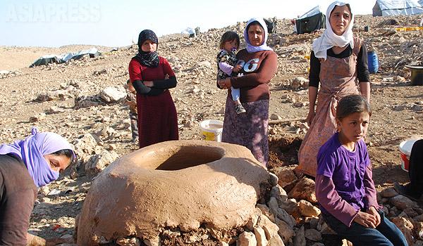 昨年8月3日、イラク北部シンジャルでイスラム国によって町を制圧され、山に追い込まれたヤズディ教徒(ヤジディ教徒)住民。山にわずかに生えている木を集めてきて、窯に火を入れる。(昨年9月、イラク・ニナワ県シンジャル山・玉本英子撮影)