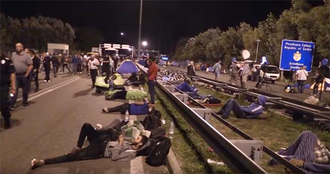 セルビアの国境で野宿する難民たち。(2015年10月・セルビア内務省撮影映像)