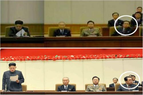 張の「不遜な態度」は、甥である金正恩に対する油断、侮りから出てしまったものだろうか。会議は2013年1月28日行われた。(朝鮮中央テレビ映像より引用)