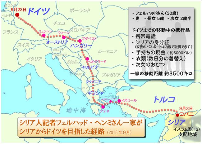 フェルハッドさん一家の脱出行は20日に及んだ。戦火のシリアから逃れるため、トルコに有刺鉄線を越えて越境、ギリシャには闇夜にゴムボートで漂着した。その後、ヨーロッパ大陸を縦断しながら親戚のいるドイツにたどり着いた。