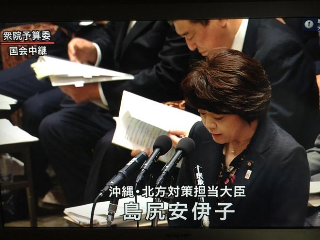 1月12日の衆院予算委員会で答弁する島尻沖縄担当相 (NHKの中継画面より)