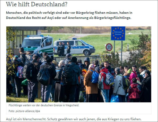 ドイツ連邦政府のサイトでは「政治的迫害や内戦から逃れ、庇護を求めることは権利」と、ドイツの難民政策が説明されている。一方で、急増する難民のなかでドイツ社会への定着と社会参加が課題となっているほか、難民にまぎれて犯罪者や過激主義組織のメンバーが入り込んでいる問題からドイツ国内には現行の難民受け入れ政策に反発する声も出ている。(写真は連邦政府サイトから)