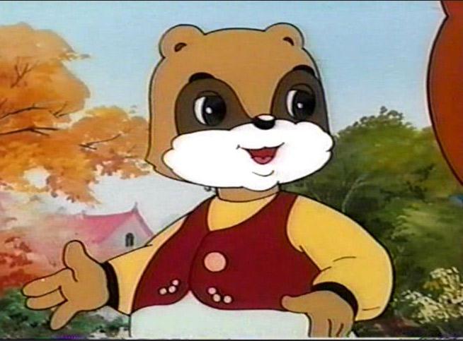 アニメ「かしこいタヌキ」の主人公。膨らんだ腹がトレードマークだ。朝鮮中央テレビより引用。
