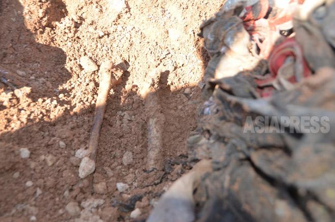 シンジャル北部ハルダン村では住民500人が殺害された。現場には殺された人の骨や衣服が散乱していた。戦闘地域に近いため調査などは行われていない(3月上旬撮影:玉本英子)