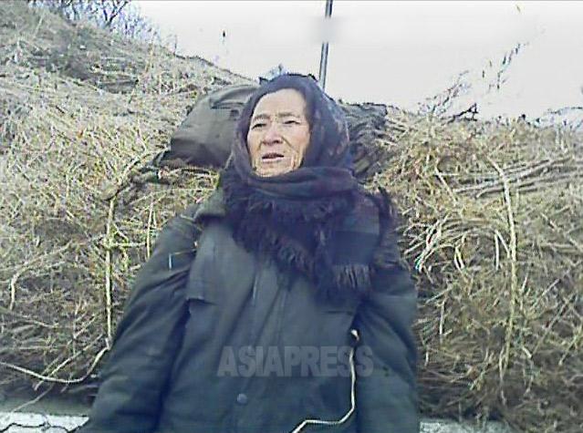 山で集めた草枝を焚き物として売り歩いていた老婆。2013年3月平安南道平城市にて撮影ミンドゥルレ(アジアプレス)