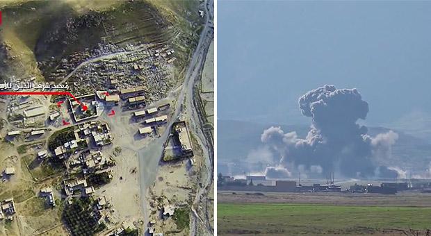 【IS】小型ドローンを使ってISはペシュメルガ陣地に砲撃や自爆攻撃を加えている。写真右はペシュメルガ陣地に突入しや自爆したISのトラック。かなりの爆薬を積み込んで爆発したと見られる。(シンジャル近郊・IS映像)