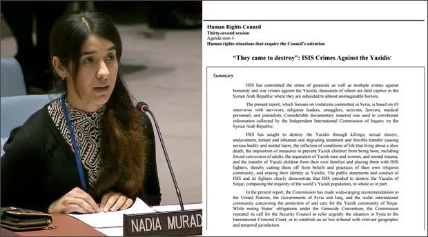 ISに拉致され、その後、脱出したヤズディ女性ナディア・ムラッドさんは、2015年12月、国連安保理で、ヤズディ虐殺の実態と自身に起きた悲劇を証言した。彼女の家族や親戚もISに殺されている。国連の独立調査委員会は今年6月、「ジェノサイド(大量虐殺)」と認定し、国際社会が一致してこの問題に取り組むよう促している。(国連映像)