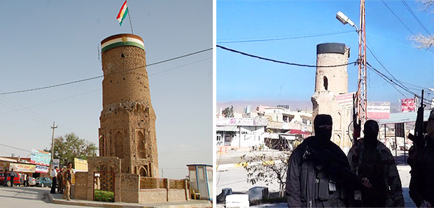シンジャル中心部にあった塔。町のシンボルだった。左は2011年取材。塔の上にクルディスタンの旗がある。シンジャルはクルド自治区から遠く離れているが、クルド語を話すヤズディ住民が多数いることから、町の防衛には自治区から派遣されたペシュメルガが展開していた。写真右はIS制圧後の映像。戦闘員の背後にある塔のてっぺんが黒く塗りつぶされている。(写真左・撮影:玉本英子 写真右・IS映像)