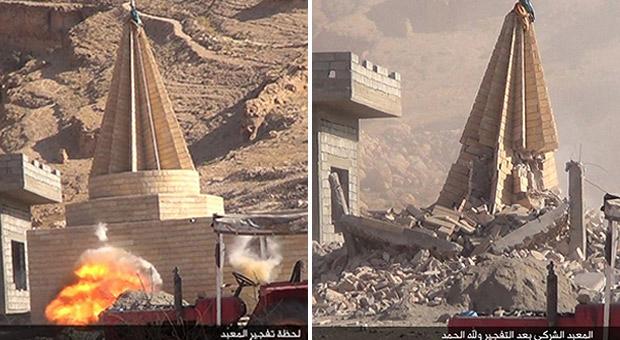 【IS】ヤズディ教徒が多数を占めるシンジャル一帯には、ヤズディ教の聖塔コッブが点在していた。聖人や地元名士を祀るほか、周辺には墓地も置かれるヤズディ教徒の宗教施設だ。ISは制圧した地域で、コッブを次々と爆破していった。ISはこうした施設を「悪魔崇拝の象徴」とみなしている。(2015年8月・シンジャル近郊・IS写真)
