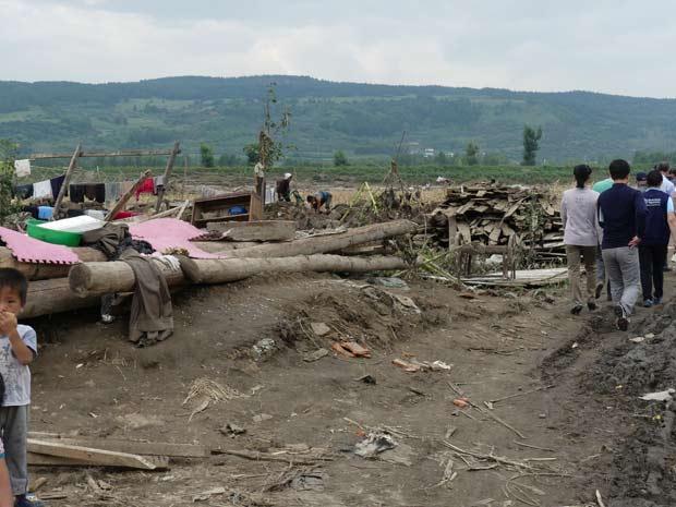 咸鏡北道の被災地。9月初旬に撮影:国際赤十字赤新月社