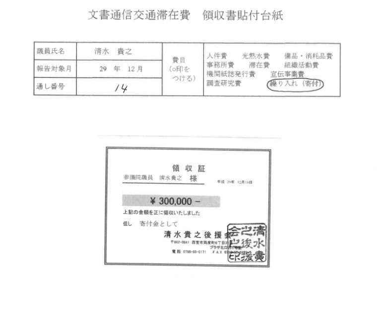 【写真報告】これが政治資金報告書と「文通費」領収書だ。橋下徹、維新清水参議員などの実物公開(4点)