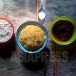 서민의 식탁 풍경. 반찬은 야채를 된장으로 버무린 것(오른쪽)과, 소금(왼쪽)정도라고 한다. 2011년3월 양강도 혜산시. 촬영 최경옥 (아시아프레스)