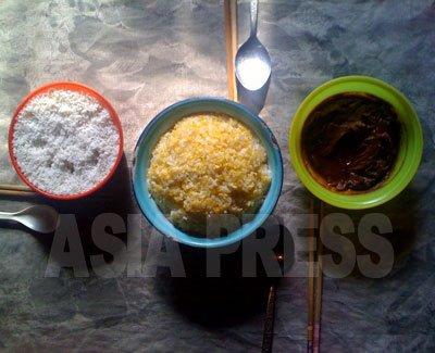 서민들의 식탁을 재현했다. 옥수수 밥과, 반찬은 야채를 된장으로 버무린 것(오른쪽)과, 소금(왼쪽) 정도라고 한다. (2011년 3월 양강도 최경옥 촬영)