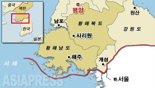 황해남북도의 위치. 중국과의 국경에서 가장 먼 곳 중 하나다. 사리원시, 해주시는 각각 도청소재지다.