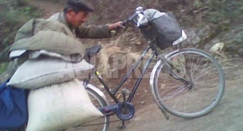 농촌에서 사온 음식을 자전거로 나르고 있는 남성. 도시의 도매 상인에게 판매한다. 이익이 1 ㎏ 당 30 원 정도로 적기 때문에 가난한 도시 주민이 하는 일이라고 한다. (2010 년 10 월 평안 남도 김 동철 촬영)