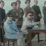 김정일과 함께 군부대를 시찰하는 고영희