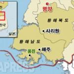 황해남도 옹진군의 위치. 서해(황해)에 접한 한국과의 최전선 지역이기도 하다.