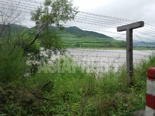 새로 설치된 철조망. 두만강 하류 훈춘시에서 7월 31일 촬영. 건너편은 북한 함경북도 샛별군인 것으로 생각된다. 사진 박영민 / 아시아프레스