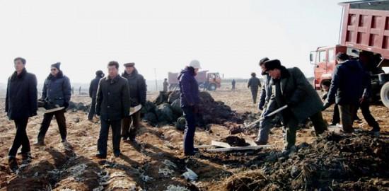 농장에서 퇴비를 나르는 주민들